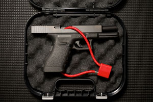 An example of a safely locked pistol prepared for transportation in California